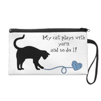 Black Cat & Heart Shaped Yarn (Blue) Wristlet