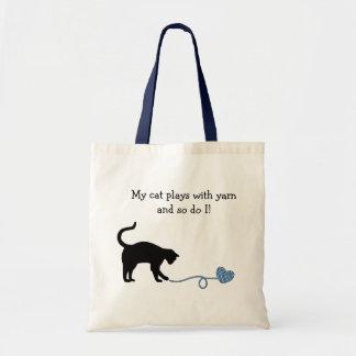 Black Cat & Heart Shaped Yarn (Blue) Budget Tote Bag
