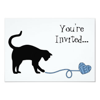 Black Cat & Heart Shaped Yarn (Blue) Card