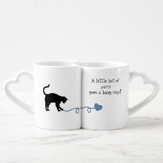 Black Cat & Heart Shaped Yarn (Blue) Coffee Mug Set