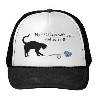 Black Cat & Heart Shaped Yarn (Blue) Trucker Hat