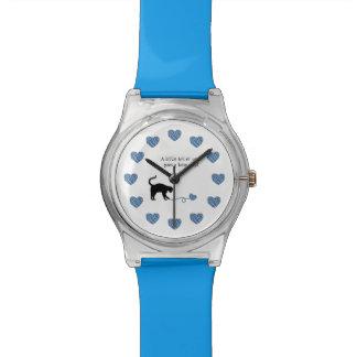 Black Cat & Heart Shaped Yarn (Blue) Watches