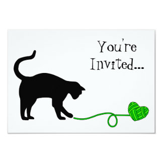 Black Cat & Heart Shaped Yarn (Lime Green) Card
