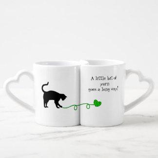 Black Cat & Heart Shaped Yarn (Lime Green) Coffee Mug Set