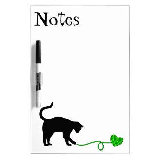 Black Cat & Heart Shaped Yarn (Lime Green) Dry-Erase Board