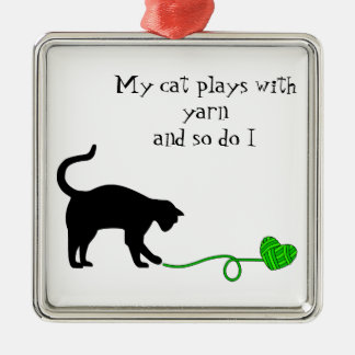 Black Cat Heart Shaped Yarn Lime Green Christmas Tree Ornaments