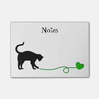 Black Cat & Heart Shaped Yarn (Lime Green) Post-it® Notes