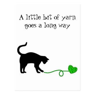 Black Cat & Heart Shaped Yarn (Lime Green) Postcard