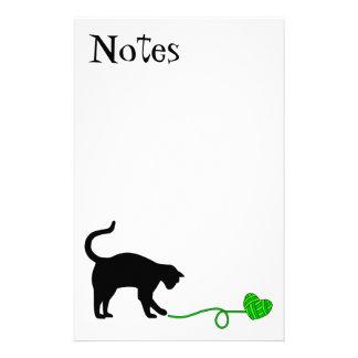 Black Cat & Heart Shaped Yarn (Lime Green) Stationery Design
