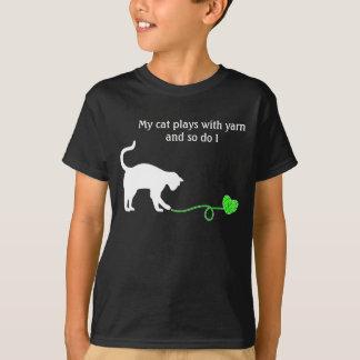 Black Cat & Heart Shaped Yarn (Lime Green) T-Shirt