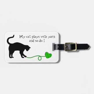 Black Cat & Heart Shaped Yarn (Lime Green) Tag For Luggage