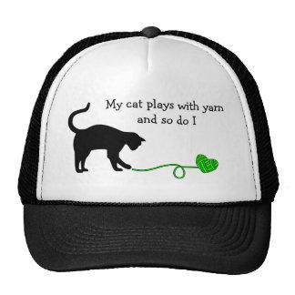 Black Cat & Heart Shaped Yarn (Lime Green) Trucker Hat