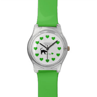 Black Cat & Heart Shaped Yarn (Lime Green) Wristwatches