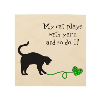 Black Cat & Heart Shaped Yarn (Lime Green) Wood Canvas