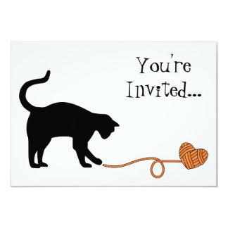 Black Cat & Heart Shaped Yarn (Orange) Card