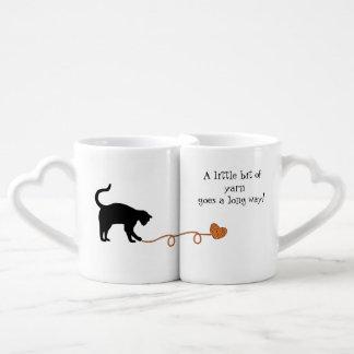 Black Cat & Heart Shaped Yarn (Orange) Coffee Mug Set