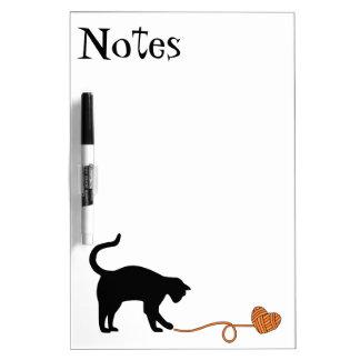 Black Cat & Heart Shaped Yarn (Orange) Dry Erase Board