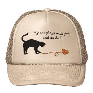 Black Cat & Heart Shaped Yarn (Orange) Trucker Hat