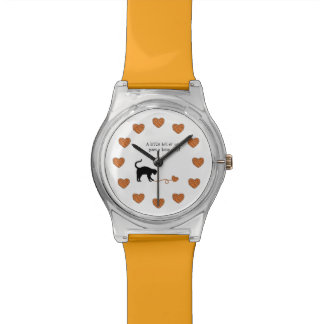 Black Cat & Heart Shaped Yarn (Orange) Watches
