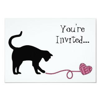 Black Cat & Heart Shaped Yarn (Pink) Card