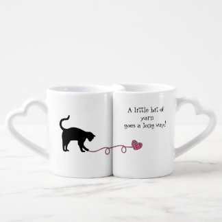 Black Cat & Heart Shaped Yarn (Pink) Coffee Mug Set