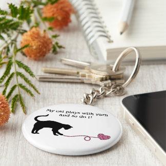 Black Cat Heart Shaped Yarn Pink Key Chain
