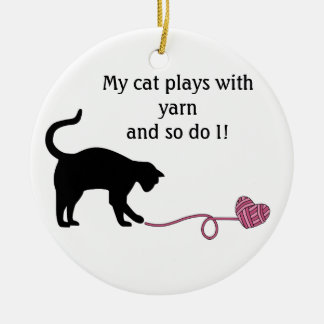 Black Cat Heart Shaped Yarn Pink Christmas Tree Ornament