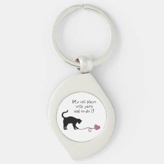 Black Cat Heart Shaped Yarn Pink Keychain
