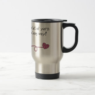 Black Cat & Heart Shaped Yarn (Pink) Travel Mug