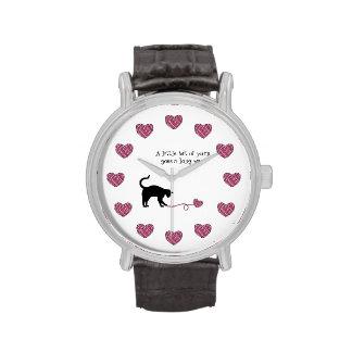 Black Cat & Heart Shaped Yarn (Pink) Watch