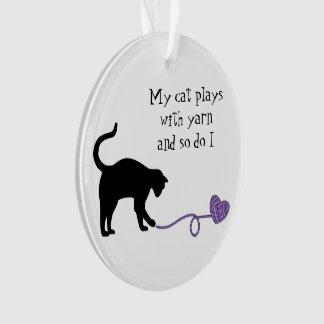 Black Cat & Heart Shaped Yarn (Purple)