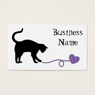 Black Cat & Heart Shaped Yarn (Purple) Business Card