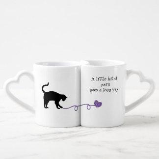 Black Cat & Heart Shaped Yarn (Purple) Coffee Mug Set