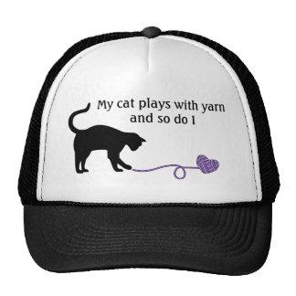 Black Cat & Heart Shaped Yarn (Purple) Trucker Hat