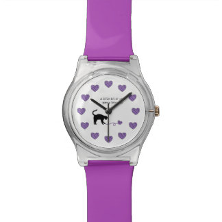 Black Cat & Heart Shaped Yarn (Purple) Watches