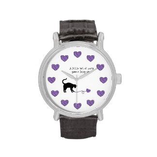 Black Cat & Heart Shaped Yarn (Purple) Wristwatch