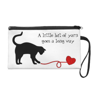 Black Cat & Heart Shaped Yarn (Red) Wristlet Clutches