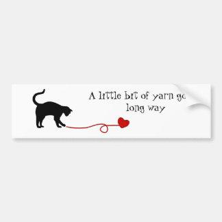 Black Cat & Heart Shaped Yarn (Red) Bumper Sticker
