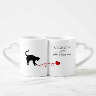 Black Cat & Heart Shaped Yarn (Red) Coffee Mug Set