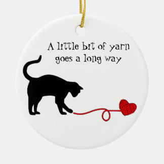 Black Cat Heart Shaped Yarn Red Christmas Ornaments