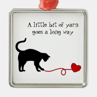 Black Cat Heart Shaped Yarn Red Ornaments