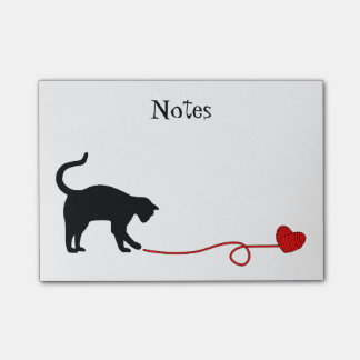 Black Cat & Heart Shaped Yarn (Red) Post-it® Notes