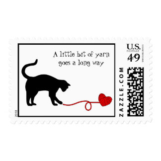 Black Cat & Heart Shaped Yarn (Red) Postage