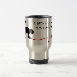 Black Cat & Heart Shaped Yarn (Red) Travel Mug