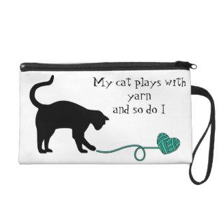 Black Cat & Heart Shaped Yarn (Turquoise) Wristlet
