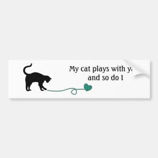 Black Cat & Heart Shaped Yarn (Turquoise) Bumper Sticker
