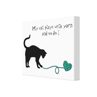 Black Cat & Heart Shaped Yarn (Turquoise) Canvas Print
