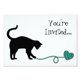 Black Cat & Heart Shaped Yarn (Turquoise) Card