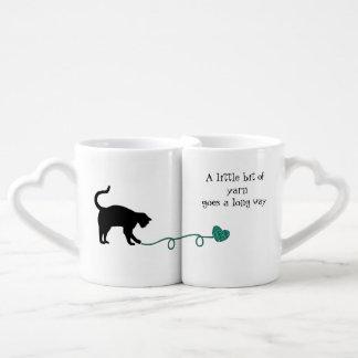 Black Cat & Heart Shaped Yarn (Turquoise) Coffee Mug Set