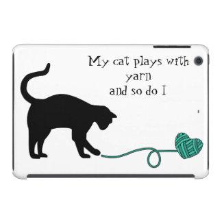 Black Cat & Heart Shaped Yarn (Turquoise) iPad Mini Retina Case